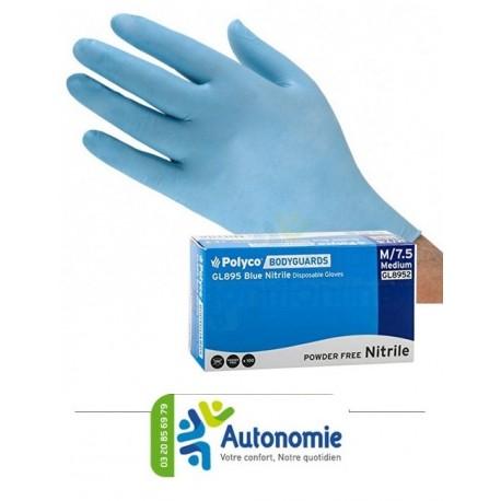 gants d'examen nitrile non poudrés bleus