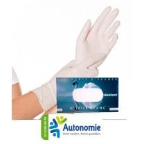 gants d'examen nitrile non poudrés blancs