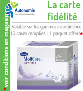 carte fidelite du magasin Autonomie, valable sur la game incontinence